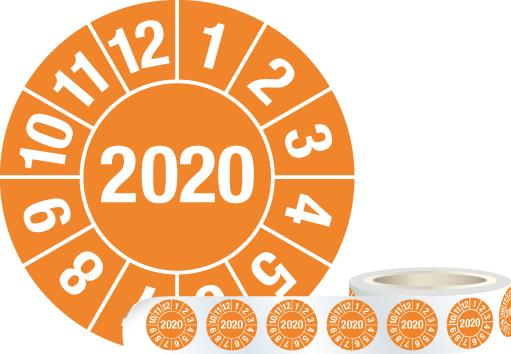 "Test sticker ""2020"", orange, film 30mm, roll with 1000 stickers - 1"