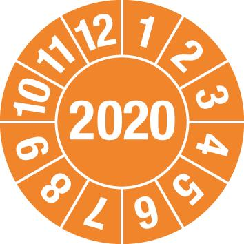 Test sticker 2020, orange, film 30mm, sheet/15 stickers