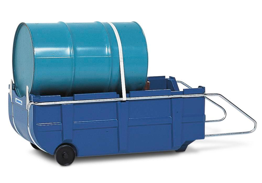 Bunded drum trolley, polyethylene, handle & safety straps, for 205 litre drums, 225 litre capacity