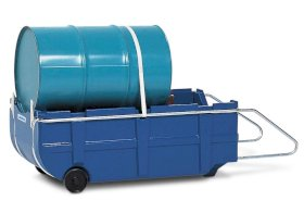 Bunded drum trolley, polyethylene, handle & safety straps, for 205 litre drums, 225 litre capacity-w280px