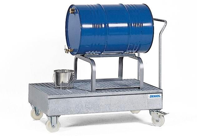 Bunded steel drum trolley, galvanized, polyamide wheels, including drum dispensing rack