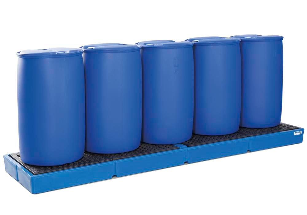 Spill pallet classic-line in polyethylene (PE) for 5 drums, with PE grid, 3000x790x175 - 1