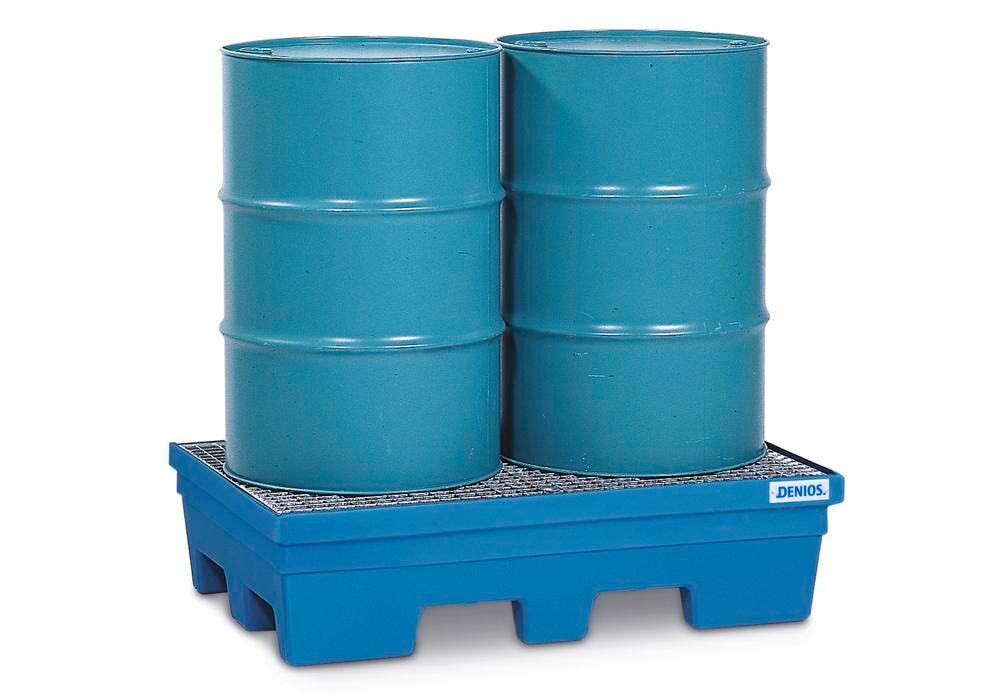 Spill pallet PolySafe PSP 2.2 in PE, blue, forklift pockets and galv grid, for 2 x 205 litre drums
