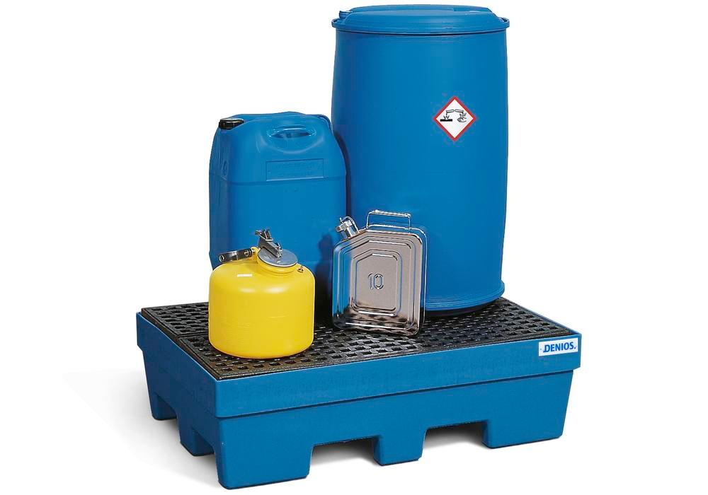 Spill pallet PolySafe PSP 2.2 in PE, blue, forklift pockets and PE grid, for 2 x 205 litre drums