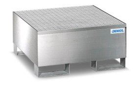 Spill pallet pro-line in st steel for 1 drum, accessible underneath, with st steel grid 850x870x430-w280px