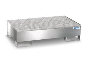 Spill pallet pro-line in st steel for 2 drums, access. underneath, with galvanised grid 850x1342x325-w280px