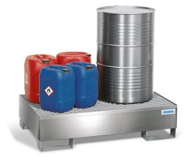 Spill pallet pro-line in st steel for 2 drums, access. underneath, with st steel grid, 850x1342x325-w280px