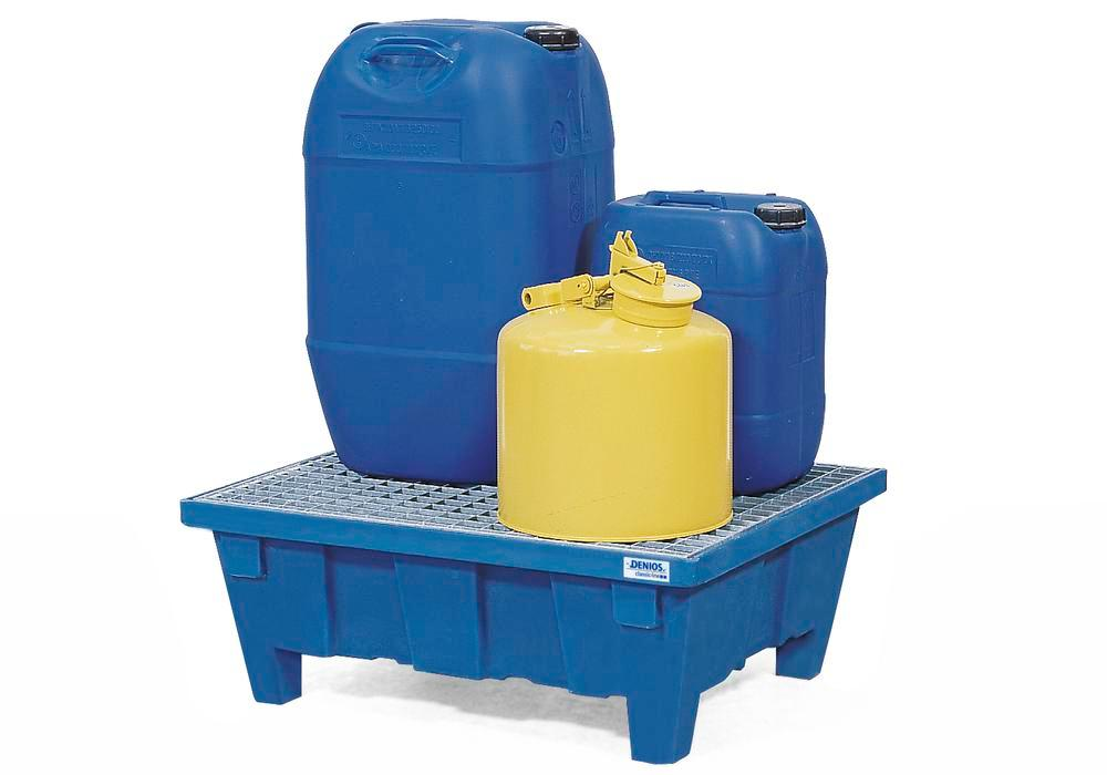 Spill tray for small containers classic-line in polyethylene (PE) with feet and galv. grid, 60 litre - 1