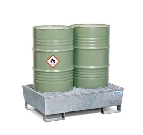 Sump pallet Basic E, galvanized steel, with forklift pockets & grid, for 2x205 litre drums-w280px