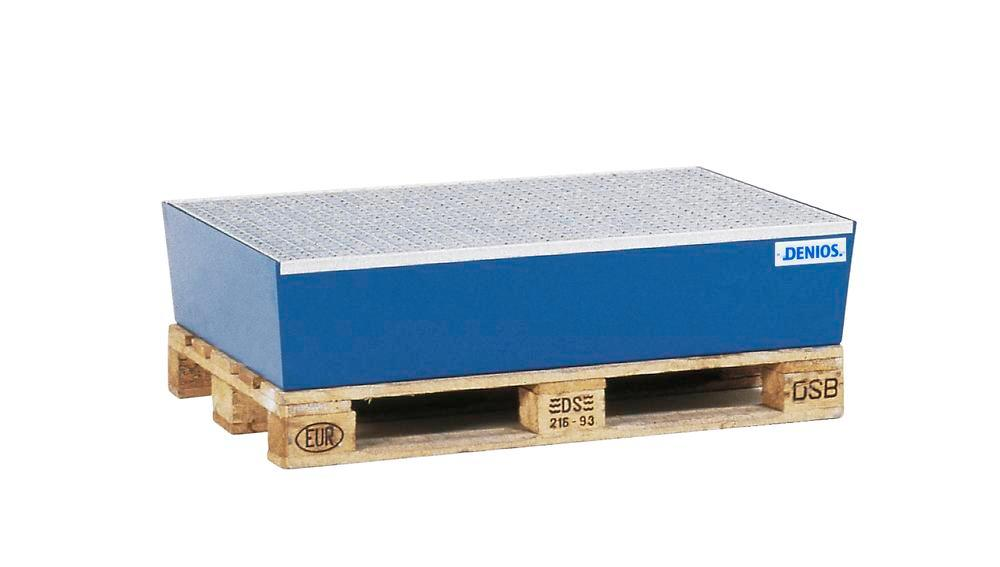 Sump pallet Basic E, painted steel, without forklift pockets, with grid, for 2x205 litre drums