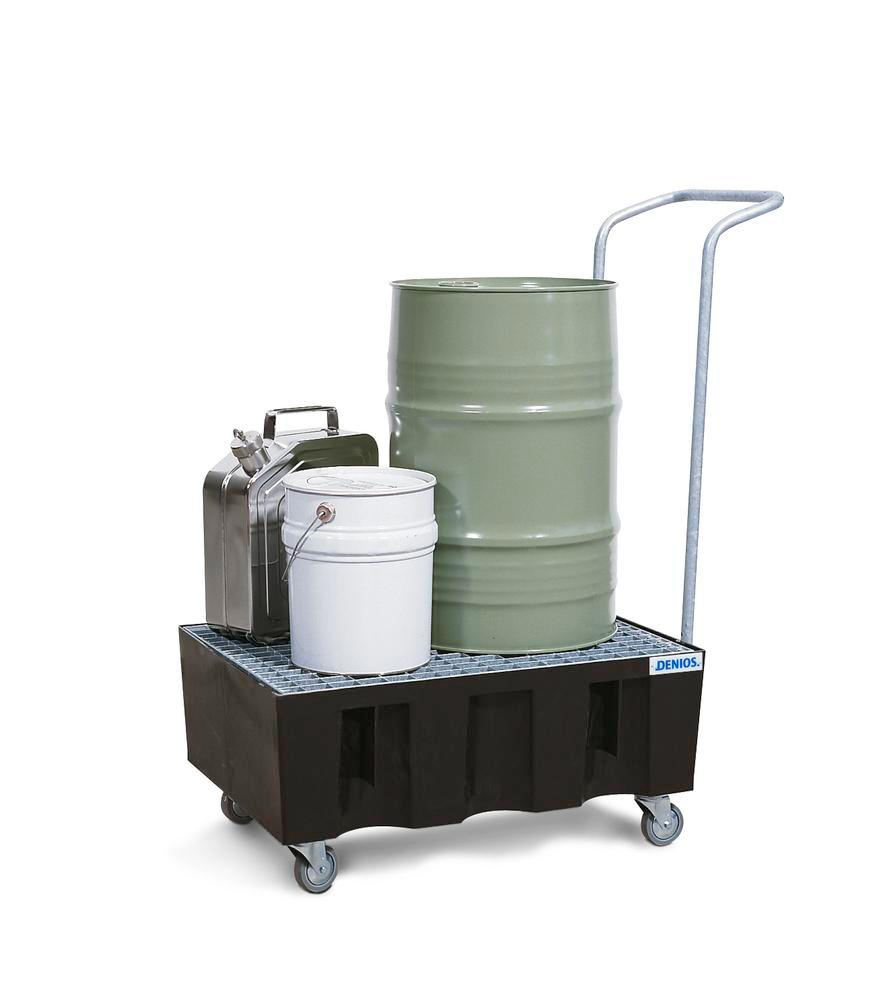 Sump pallet PolySafe Euro, polyethylene, with castors & galvanized grid, for 2x60 ltr containers