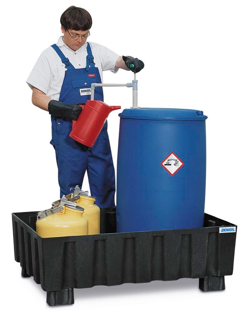 Sump pallet PolySafe Euro, polyethylene, with feet, for 2x205 litre drums, 230 litre capacity