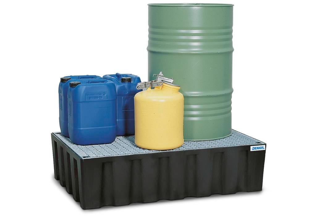 Sump pallet PolySafe Euro, polyethylene, with galvanized grid, for 2x205 litre drums