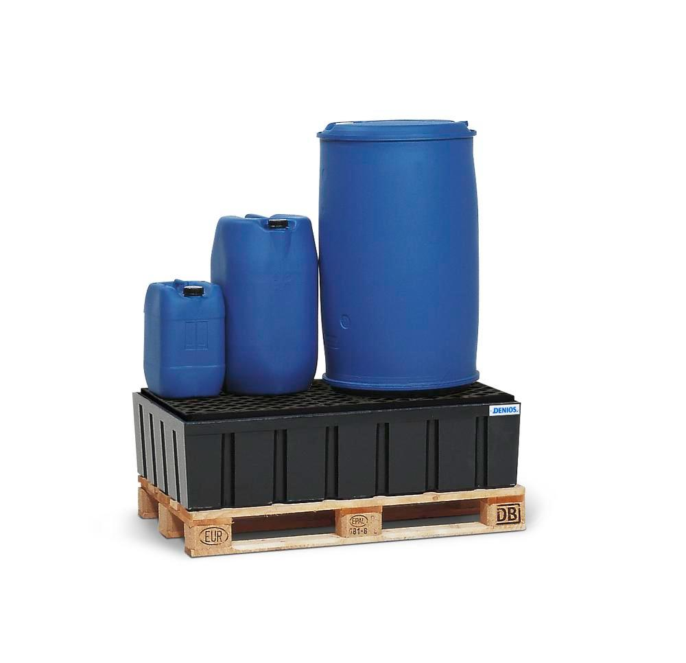 Sump pallet PolySafe Euro, polyethylene, with PE grid, for 2x205 litre drums, 230 litre capacity