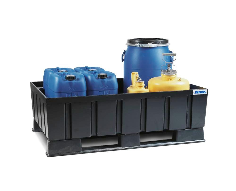 Sump pallet PolySafe Euro, polyethylene, with runners, for 2x205 litre drums, 230 litre capacity