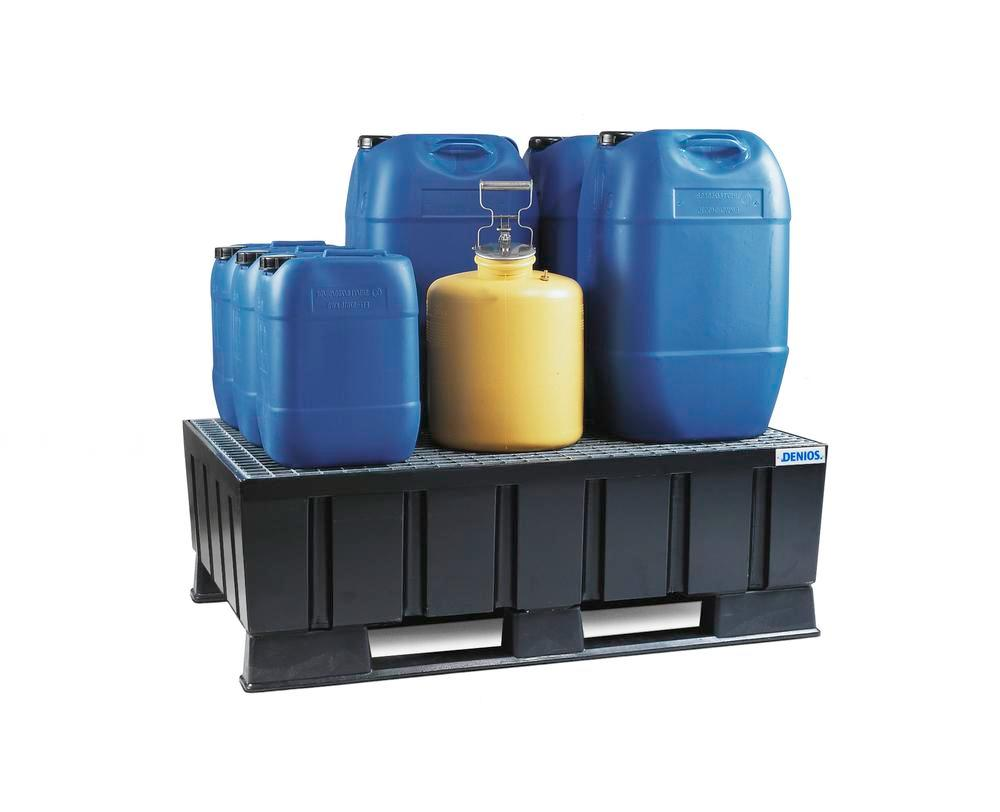 Sump pallet PolySafe Euro, polyethylene, with runners & galvanized grid, for 2x205 litre drums