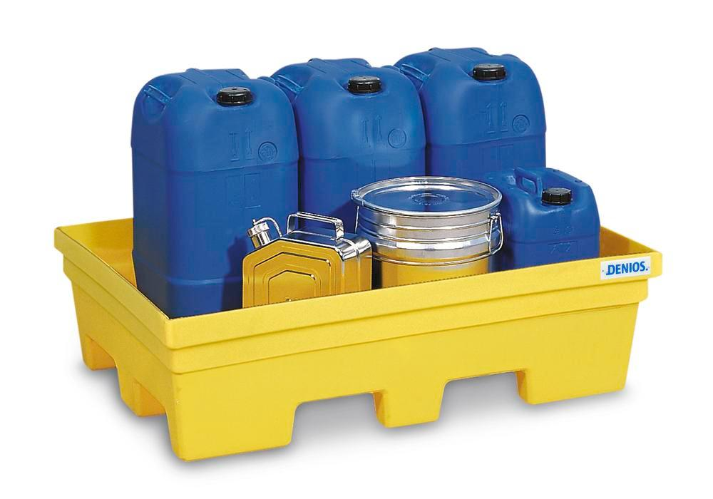 Sump pallet PolySafe PSP 2.2, polyethylene, without grid, 225 litre capacity, yellow - 1