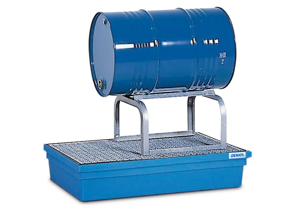 Sump pallet PolySafe PSW 2.2, polyethylene, with galvanized grid and FB1 drum mount, blue