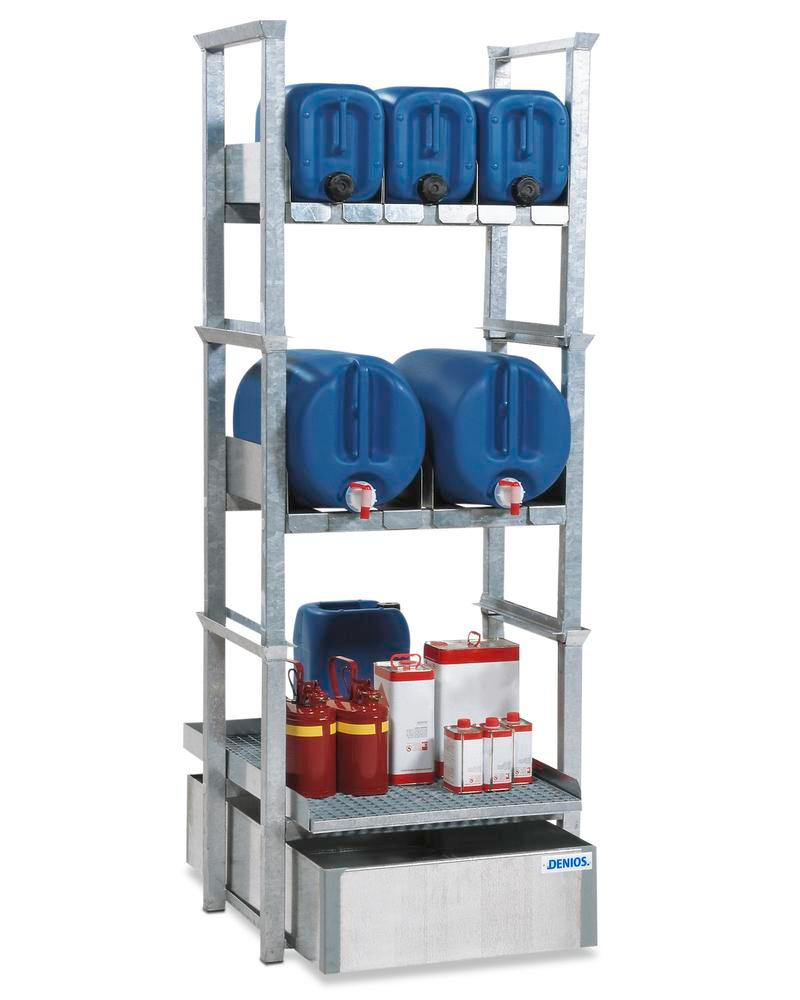 Canister and small containers rack AWK 5, with spill pallet in steel