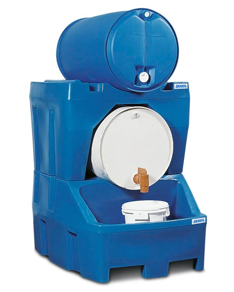 Dispensing station Model RS in polyethylene (PE), inc. drum support in PE, for 2 x 205 litre drums