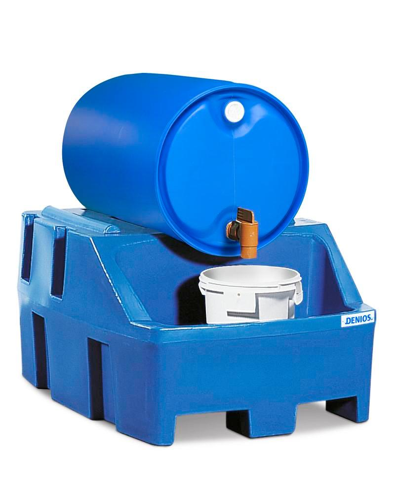 Drum dispensing station PolySafe RS, polyethylene, blue, for 1 x 205 litre drum