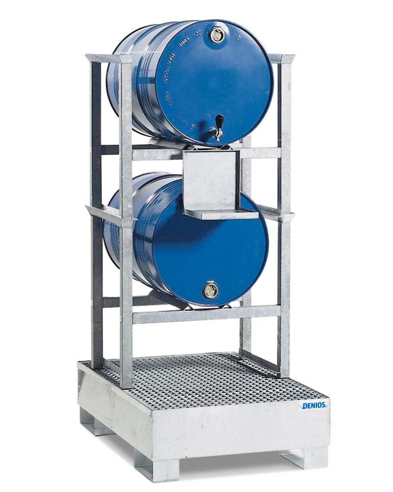 Drum rack AWS 9 for 2 x 205 litre drums, spill pallet in steel, galvanised dispensing tray