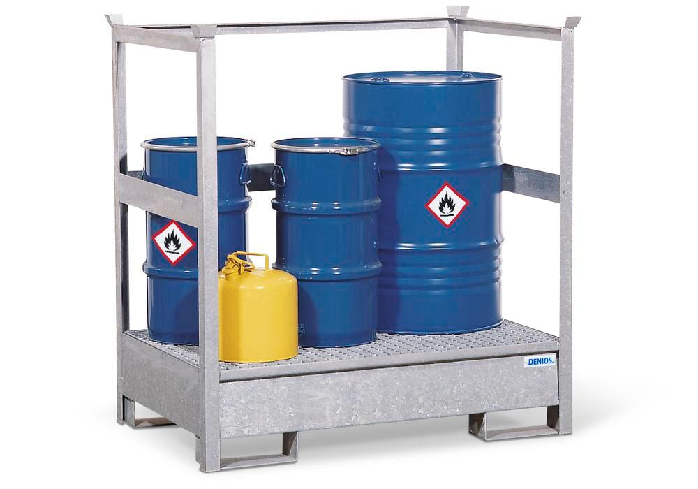 Drum storage unit 2 P2-P, galvanized steel, non-stackable, for 2x205 litre drums - 1