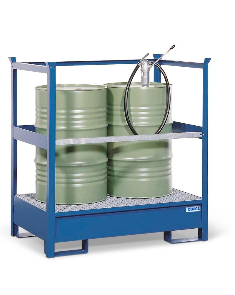 Drum storage unit 2 P2-P, painted steel, non-stackable, for 2x205 litre drums