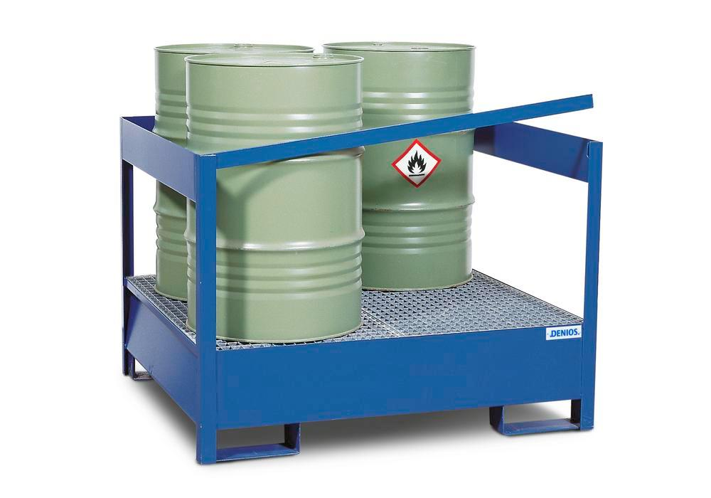Drum storage unit 4 P2-P-V50, painted steel, non-stackable, for 4x205 litre drums