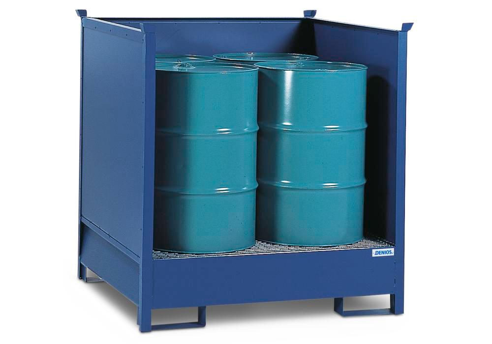 Hazardous materials station 4 P2-O-V50 steel, painted, for 4 x 205 litre drums, 3 sides, stackable