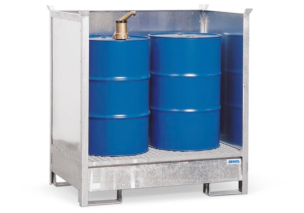 HazMat station 2 P2-O in steel, galvanised, for 2 x 205 litre drums, stackable - 1