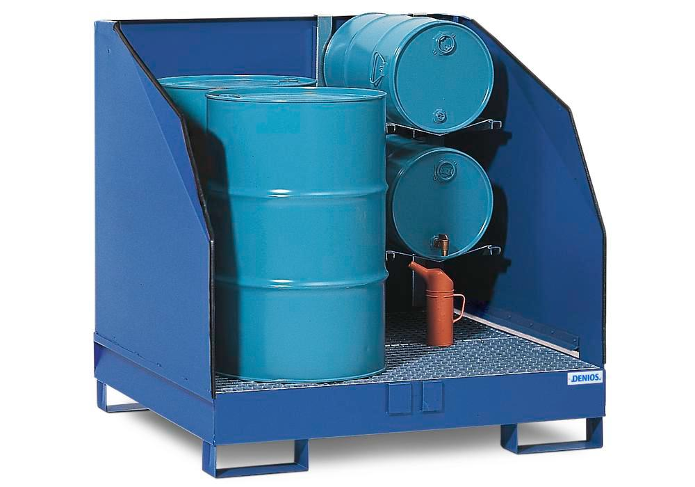 HazMat station 4 GST-K in steel, painted, incl. shelf for 2 x 205 litre drums - 1