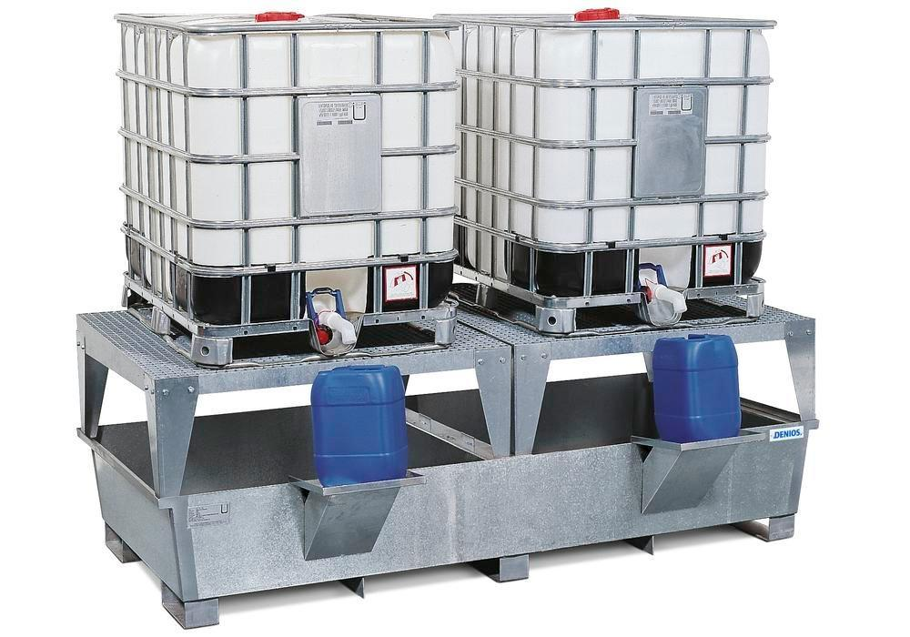 IBC sump pallet TC-2F, galvanized steel, with 2 dispensing platforms & forklift pockets, for 2 IBCs - 1