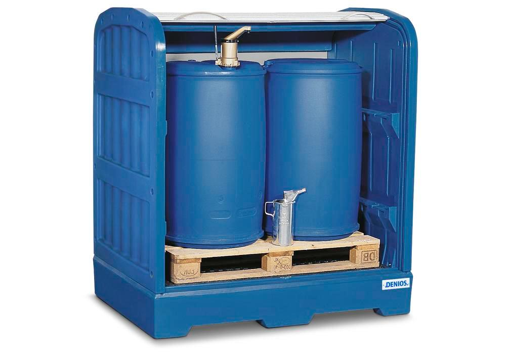 PolySafe depot PSR 8.12, for 2 drums each holding 205 litres, with a PE grid