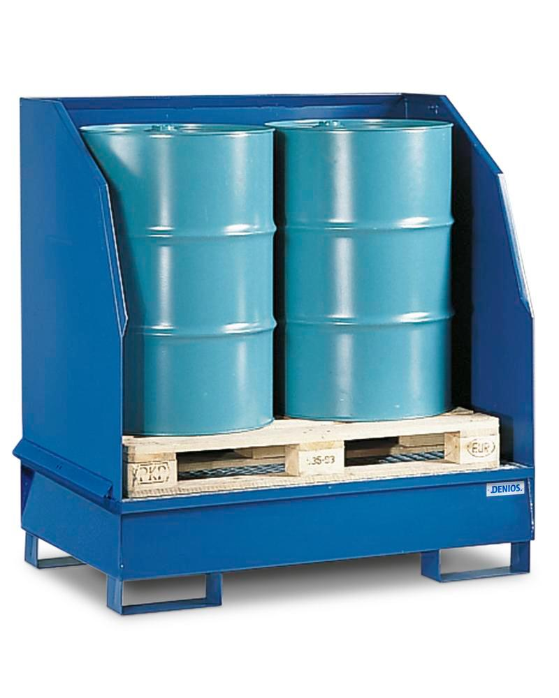 Sump pallet with 3 sides 2GST-K, painted steel, 3 sided spray protection, for 2 x 205 litre drums - 1