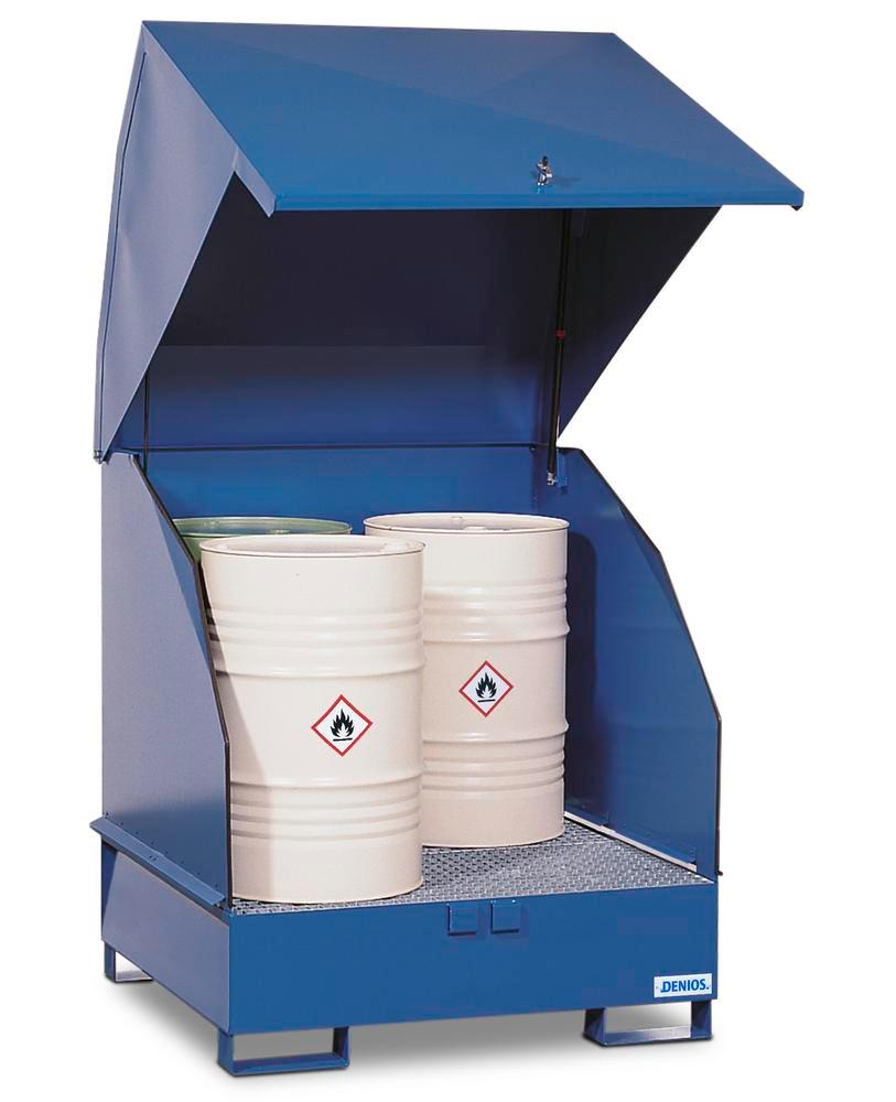 Underbench safety cabinet 4 GST-KS-V50 steel, painted, for 4 x 205-l drums, with natural ventilation