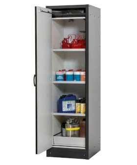 asecos fire-rated hazardous materials cabinet Basis-Line, anthracite/grey, 3 shelves, Model 30-63L-w280px