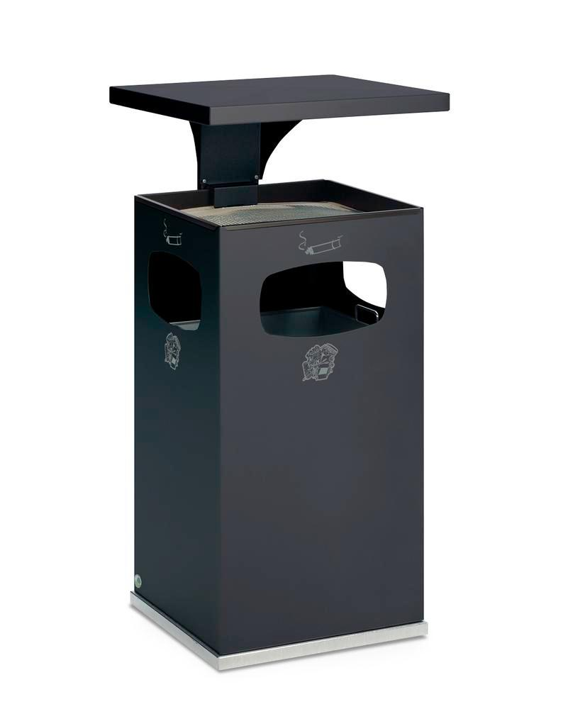Combi waste bin / ashtray in steel, with removable cover f weather protect, 72l volume, anthracite