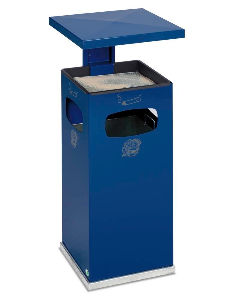 Combi waste bin / ashtray in steel, with removable cover f weather protection, 38l volume, blue