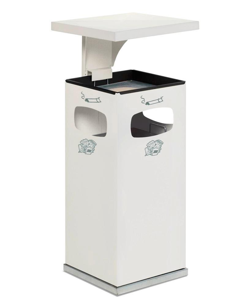 Combi waste bin / ashtray in steel, with removable cover f weather protection, 38l volume, white
