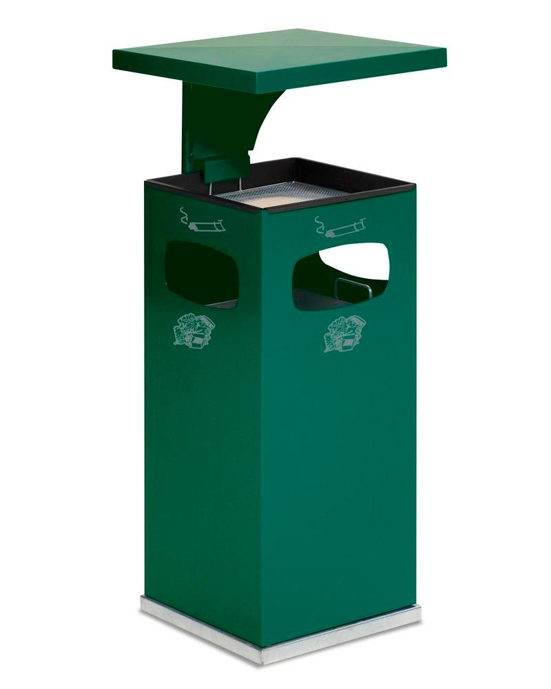 Waste bin/ash tray combination, steel, with removable protective hood, 38 litre capacity, green