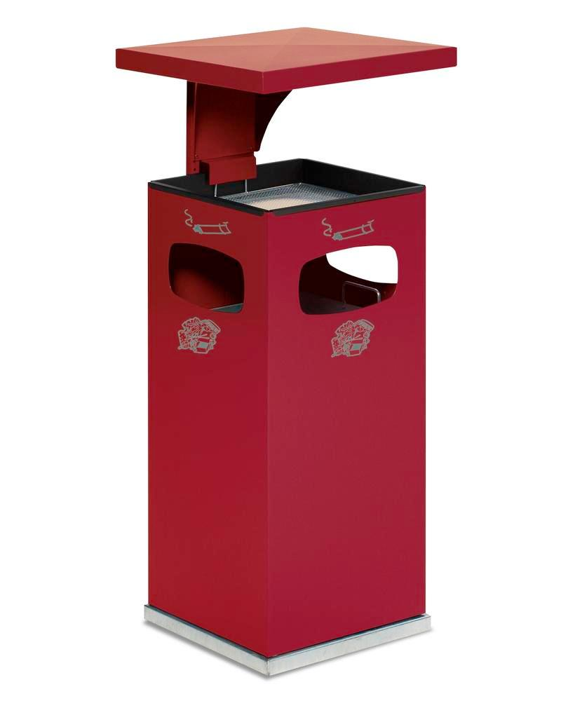Waste bin/ash tray combination, steel, with removable protective hood, 38 litre capacity, red