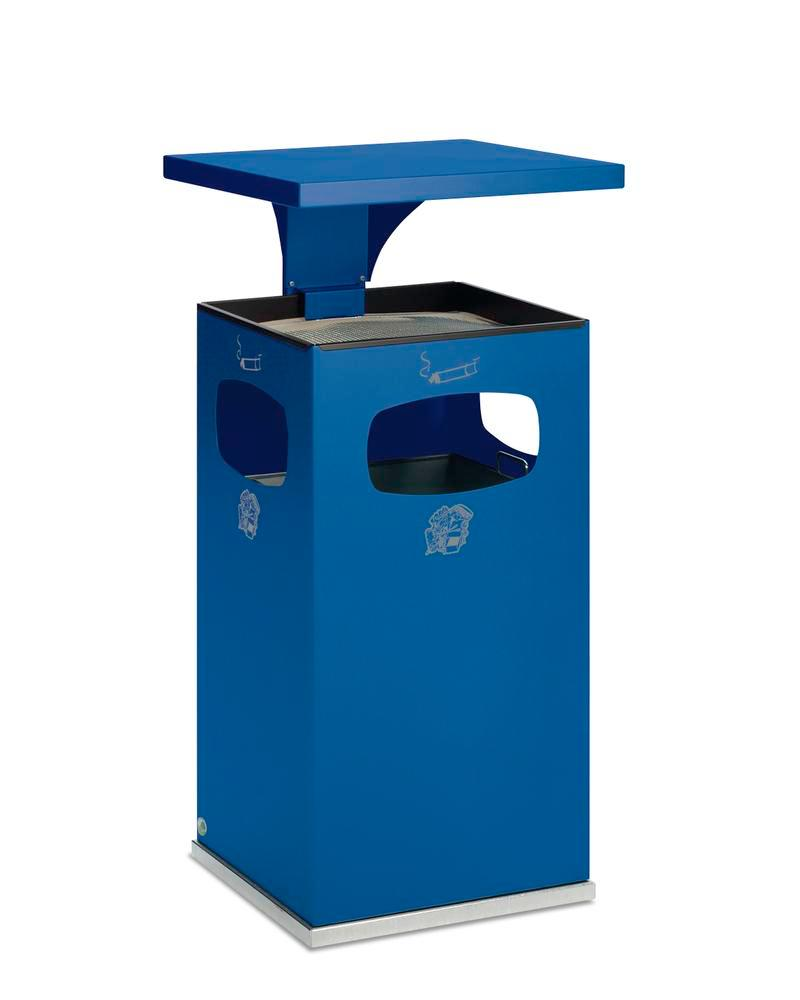 Waste bin/ash tray combination, steel, with removable protective hood, 72 litre capacity, blue