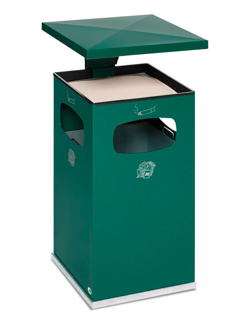 Waste bin/ash tray combination, steel, with removable protective hood, 72 litre capacity, green