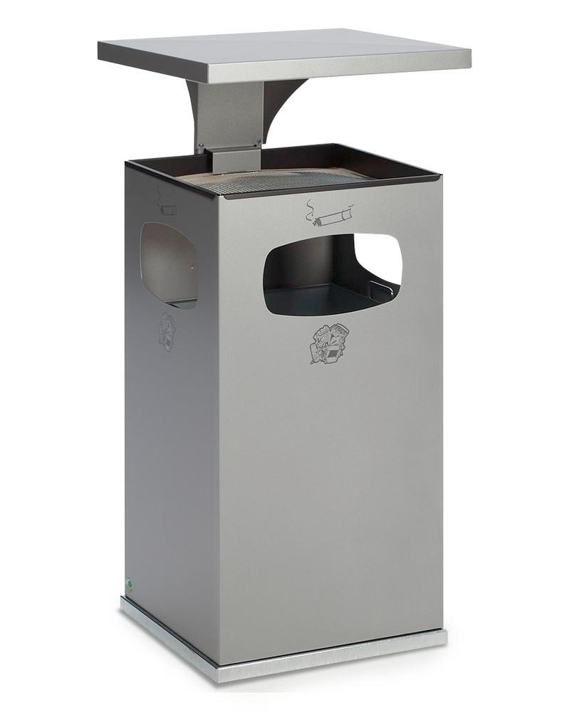 Waste bin/ash tray combination, steel, with removable protective hood, 72 litre capacity, silver