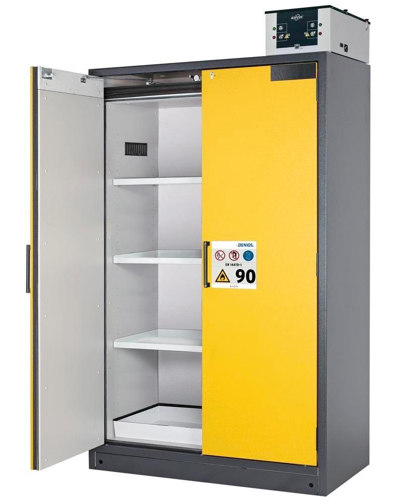 asecos fire-rated hazardous materials cabinet Select W-123, 3 shelves, doors yellow - 3