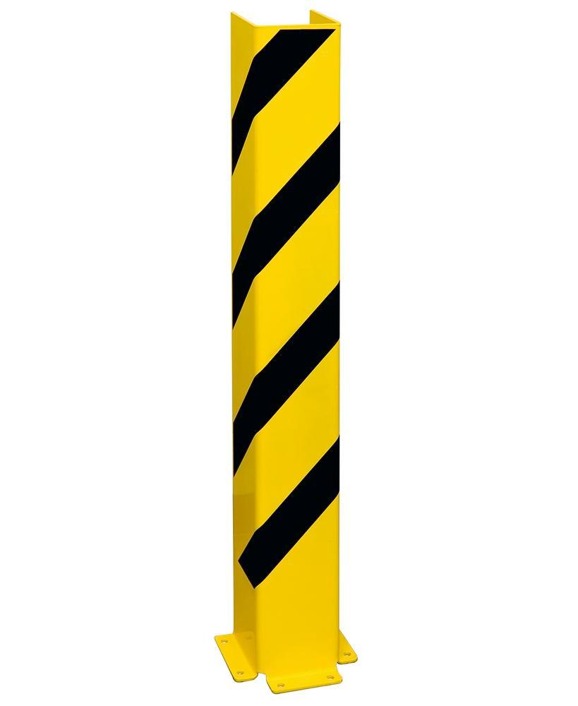 Impact protection U profile 1200, plastic coated, yellow with black stripes, height 1200 mm