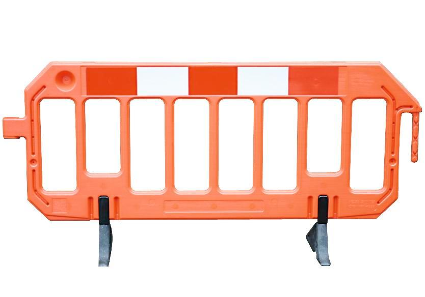 Plastic barrier in bright orange, mobile warning