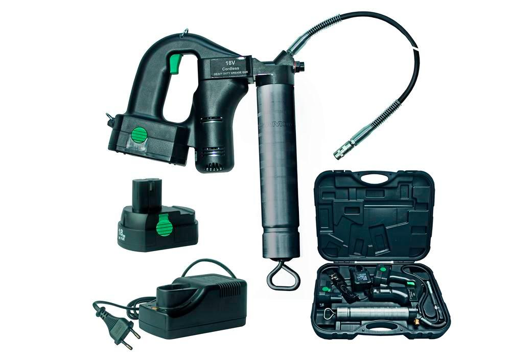 Battery grease gun AP4-K, 400 bar, in case with hose, coupler, 2 batteries and charger