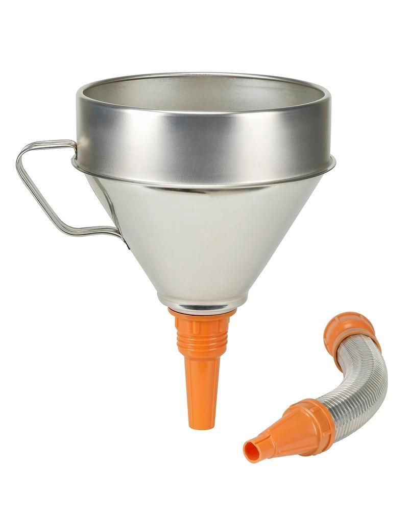 Funnel in galvanised steel, with strainer and handle, 200 mm Ø